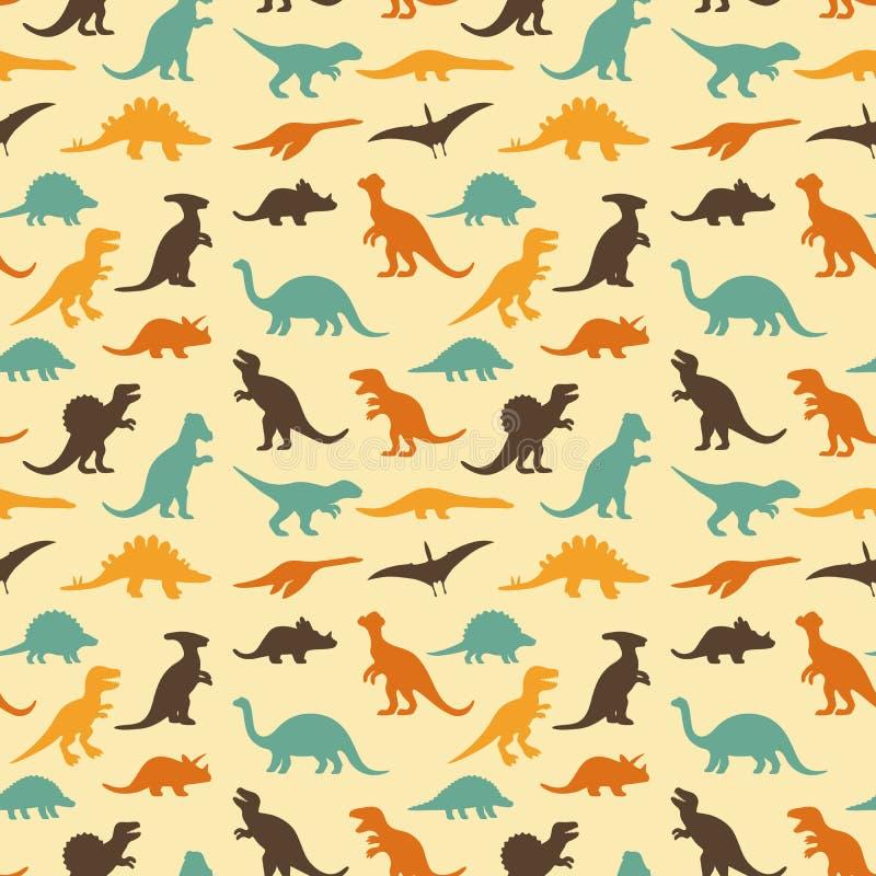 Dinosaur retro pattern. Vector set silhouettes of dinosaur,animal illustration, retro pattern background