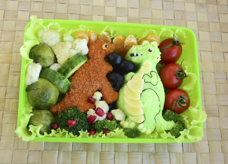 Dinosaur robią ryż Kyaraben, bento zdjęcie stock