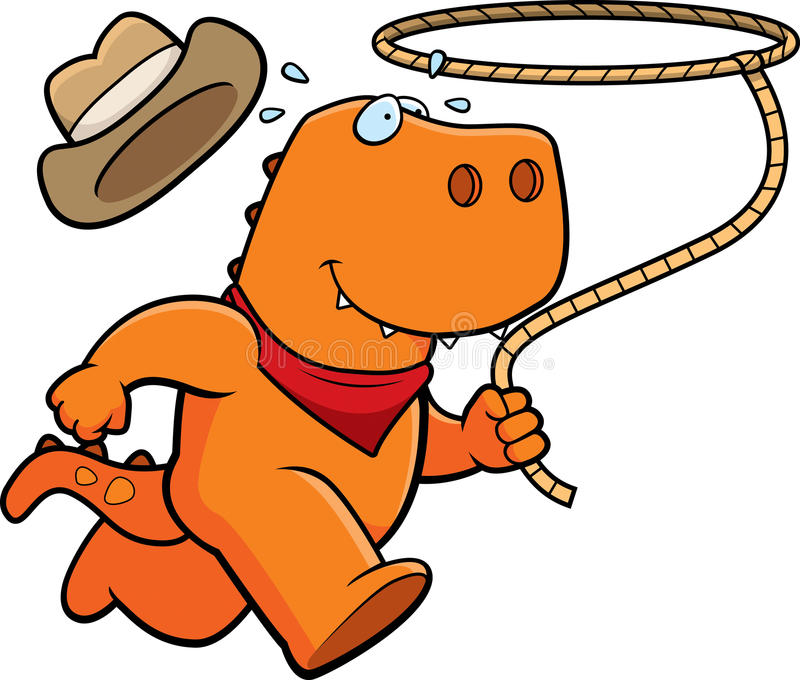 Dinosaur Rodeo. A happy cartoon rodeo dinosaur running with a lasso vector illustration