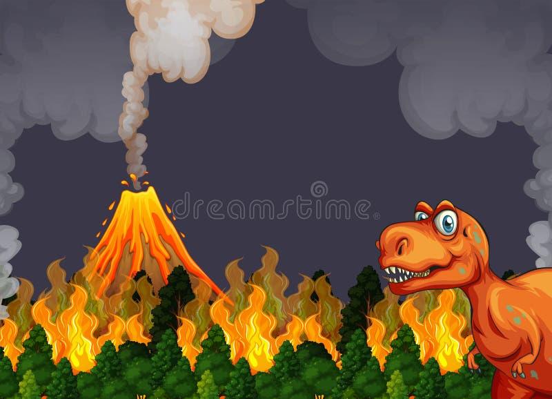 A dinosaur run away from volcano eruption royalty free illustration