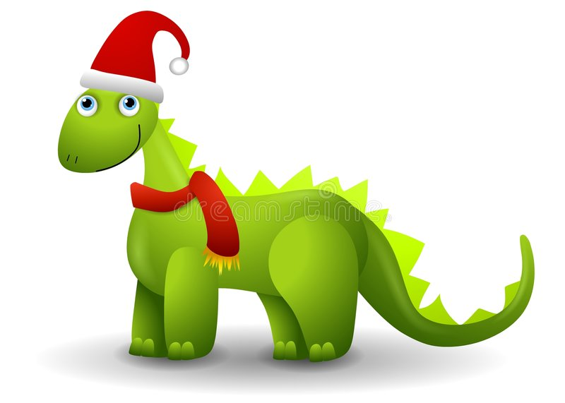 Dinosaur in Santa Hat. A clip art illustration featuring a green dinosaur standing and smiling wearing a Santa hat and scarf royalty free illustration