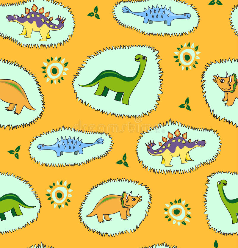 Dinosaur seamless pattern background stock illustration