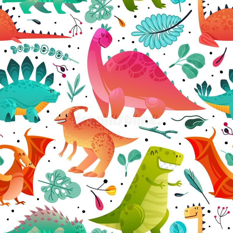 Dinosaur seamless pattern. Dino textile print dragon funny monsters cute animals kids wallpaper color dinosaurs cartoon stock illustration