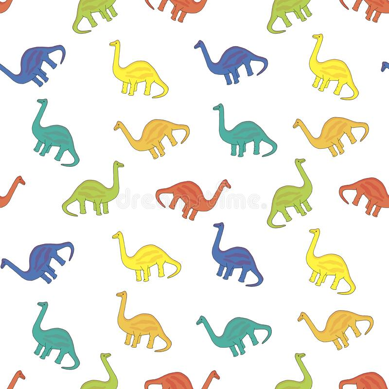 Free Dinosaur Seamless Pattern. Reptilia Blue, Yellow, Red, Green Animal Object Isolated Royalty Free Stock Image - 173843486