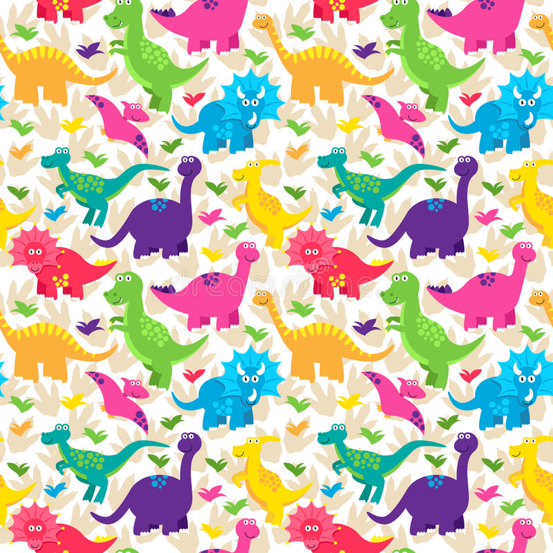 Dinosaur Seamless Tileable Vector Background Pattern royalty free illustration