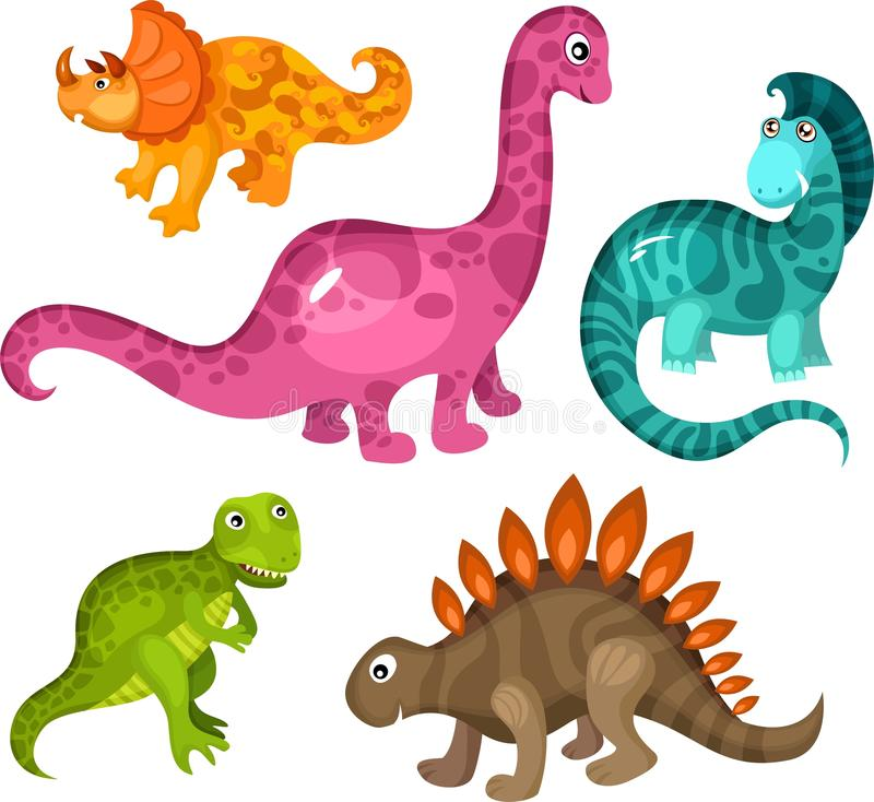 Dinosaur set. Vector illustration of a cute dinosaur set