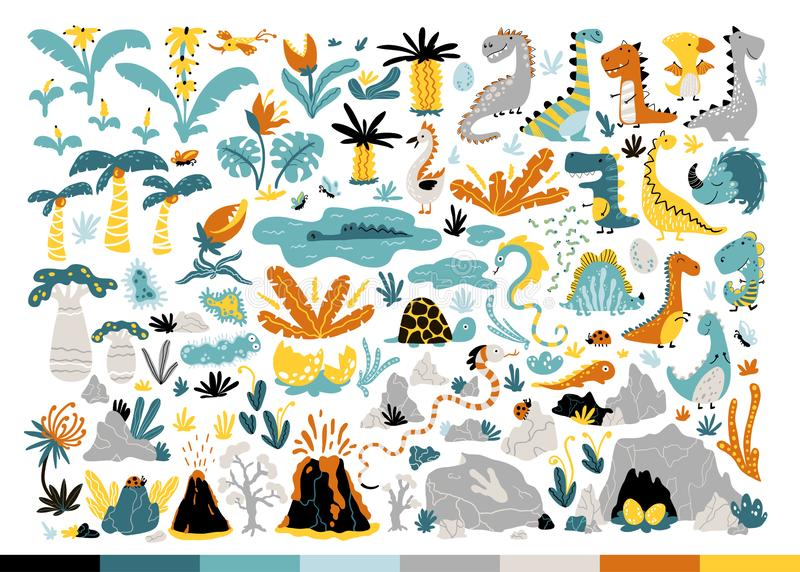 Dinosaur Set. Cute Dino and other fantastic elements of nature of the prehistoric period. Vector illustration in simple stock illustration