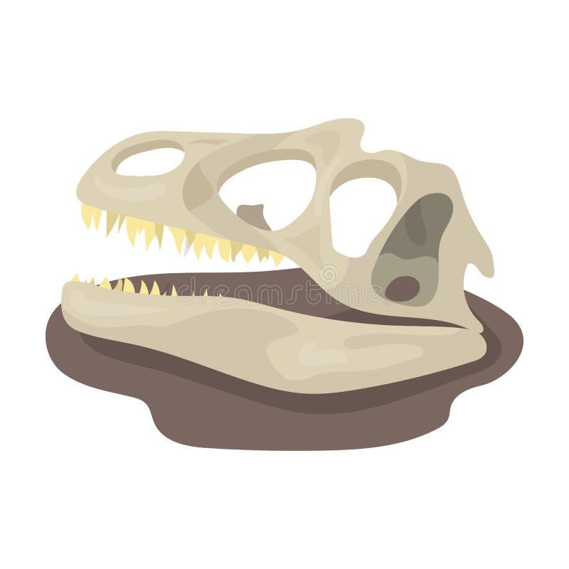 Dinosaur skamielin ikona w kreskówka stylu odizolowywającym na białym tle Dinosaury i prehistoryczny symbolu zapasu wektor royalty ilustracja