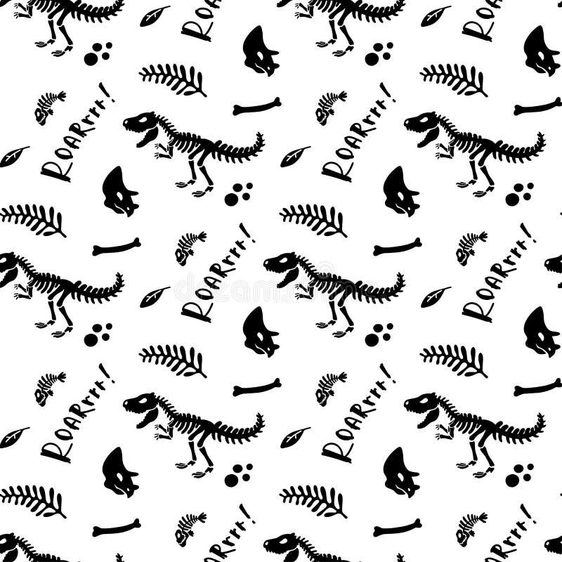 Dinosaur skamieliny i kościec wektor bezszwowy wzoru obrazy stock