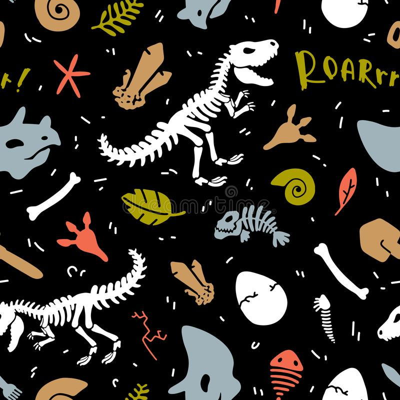 Dinosaur skeleton and fossils. Vector seamless pattern. Colorful. royalty free stock photos