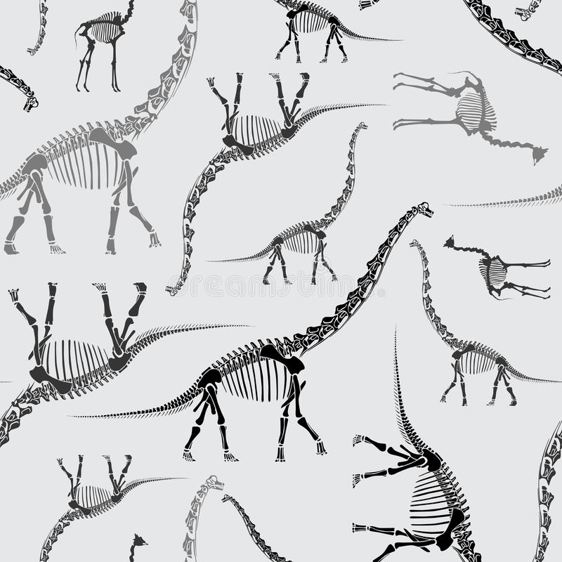 Dinosaur Skeleton Seamless Pattern in Greys royalty free illustration