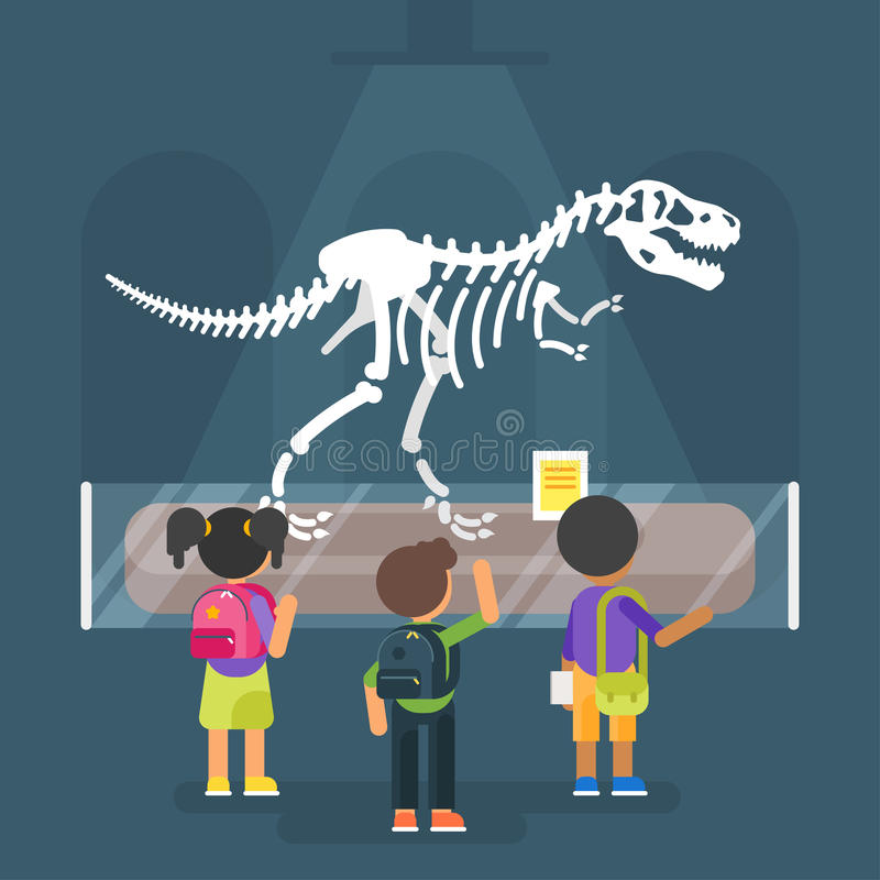 Dinosaur skeleton in museum vector illustration
