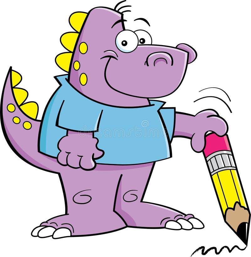 Dinosaur som rymmer en blyertspenna royaltyfri illustrationer