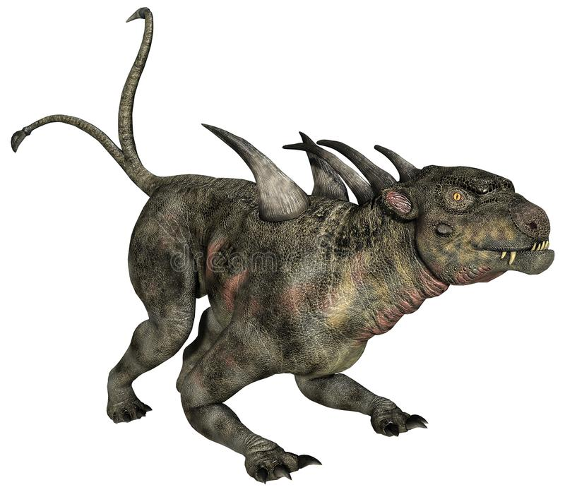 Dinosaur with spikes and double tail. 3D render of a fantasy dinosaur with spikes and double tail stock illustration