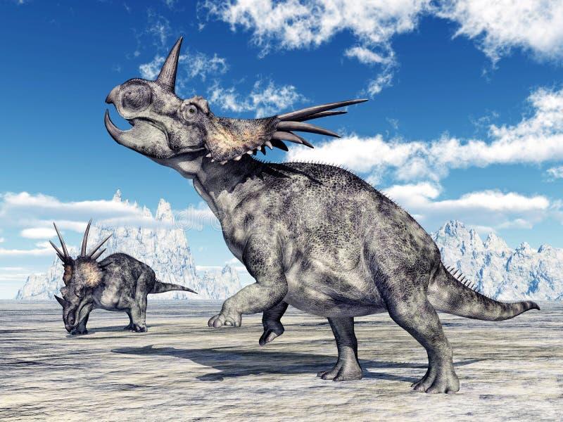 Dinosaur Styracosaurus. Computer generated 3D illustration with the dinosaur Styracosaurus royalty free illustration