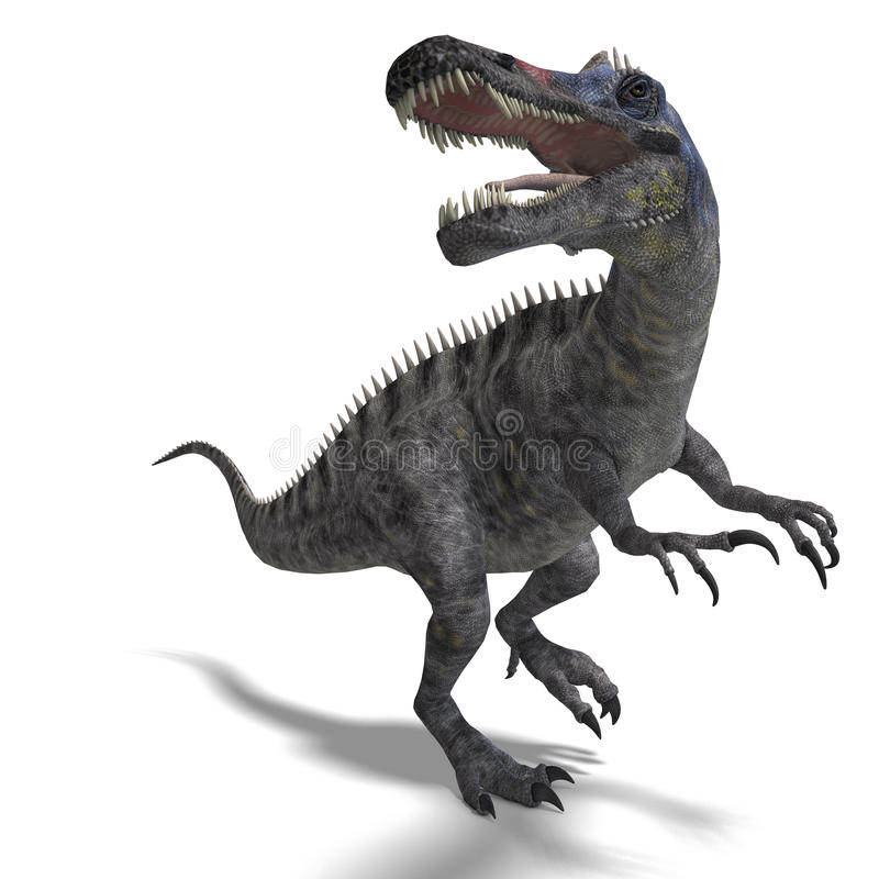 Dinosaur Suchominus. 3D rendering with clipping royalty free illustration