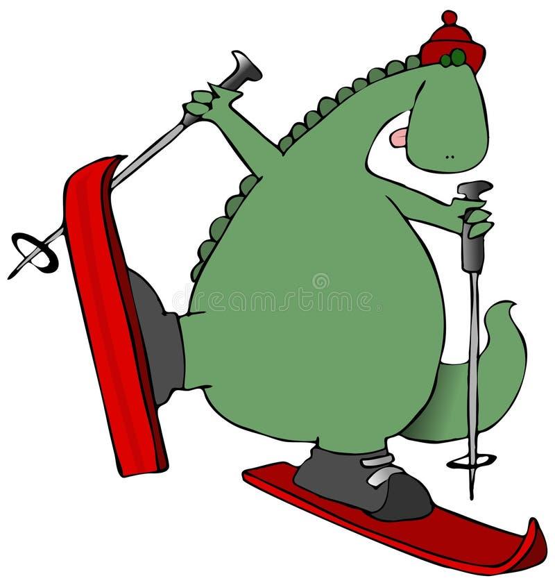 Dinosaur sur des skis illustration stock