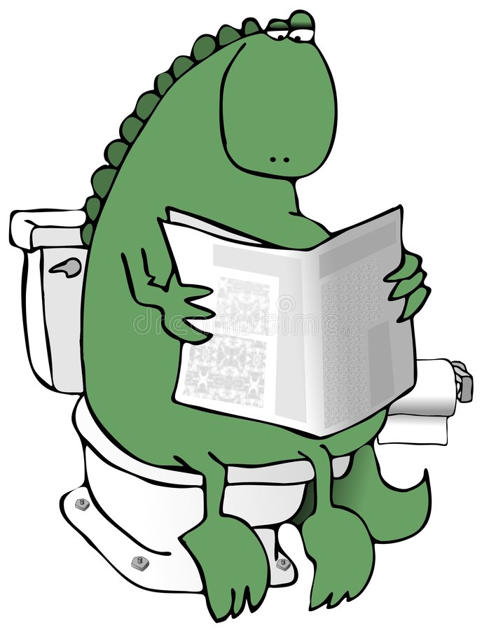 Dinosaur sur une toilette illustration stock