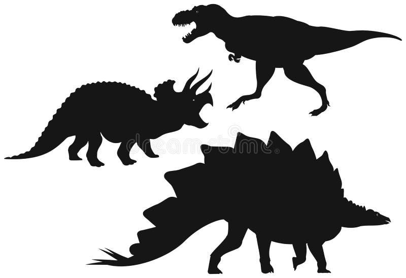 dinosaur sylwetki royalty ilustracja