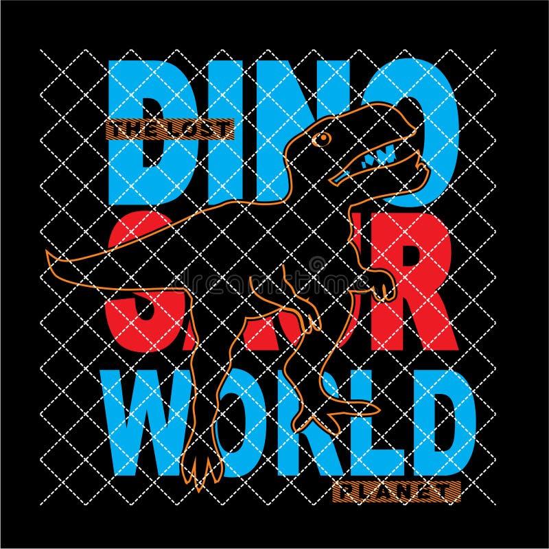Dinosaur sylwetki typografii t koszula światowy wektor ilustracji