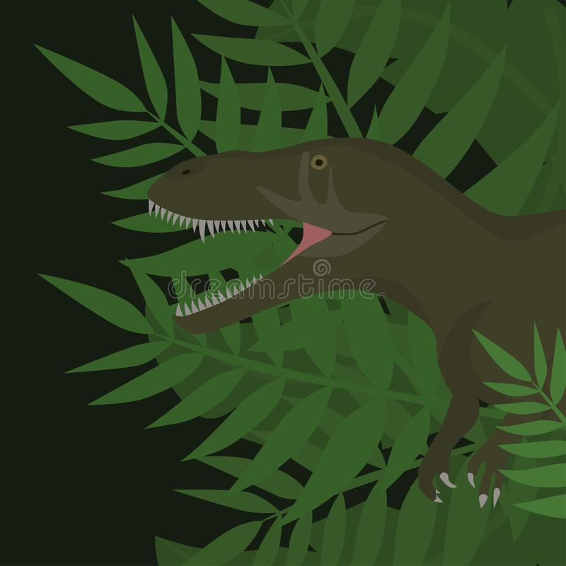 Dinosaur T-Rex Dino w dżungli ilustraci ilustracji