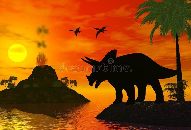 Download Dinosaur time stock illustration. Illustration of lava - 11259153
