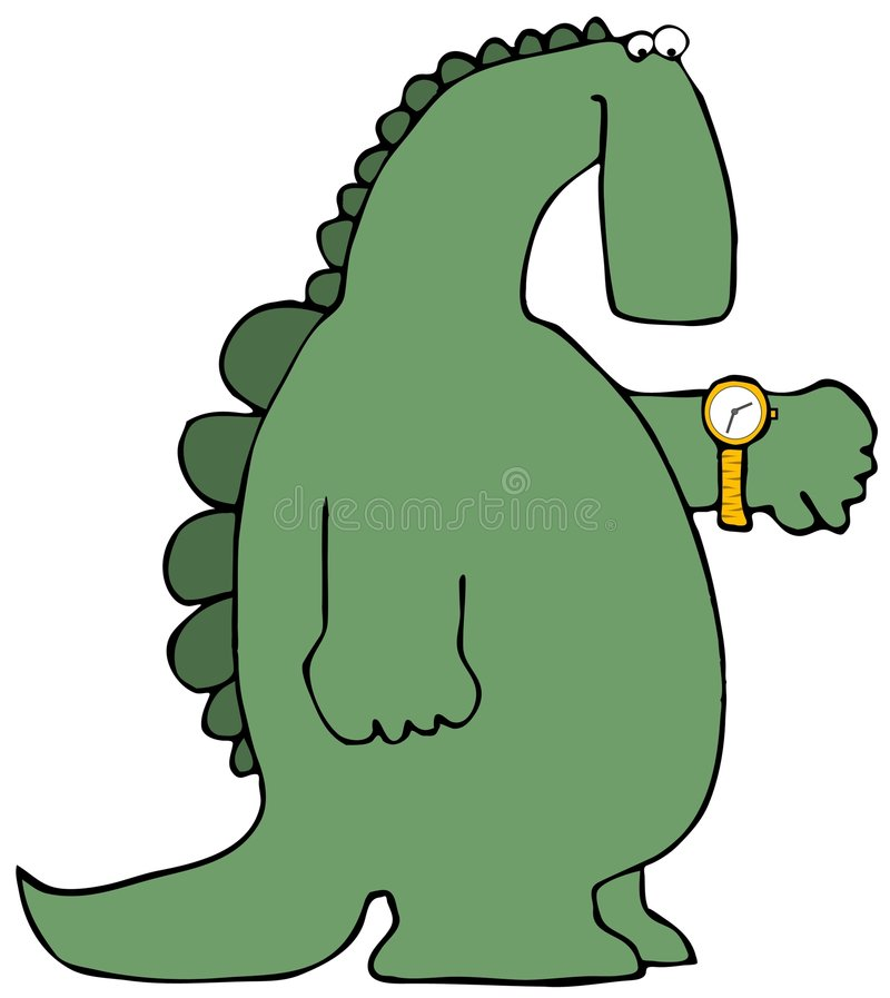 Dinosaur Time. This illustration depicts a dinosaur checking his watch royalty free illustration
