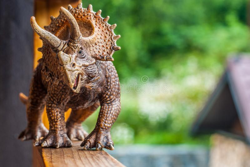 Dinosaur toy triceratops strolls along the terrace. Walking the dinosaur on the railing stock images