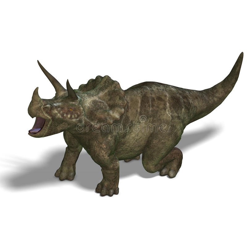 Dinosaur Triceratops. 3D render with clipping path and shadow over white royalty free illustration