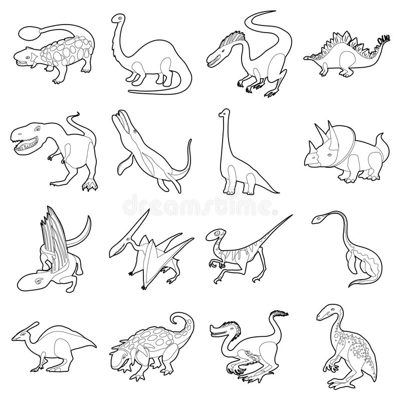 Dinosaur Types Icons Set Outline Style Stock Vector