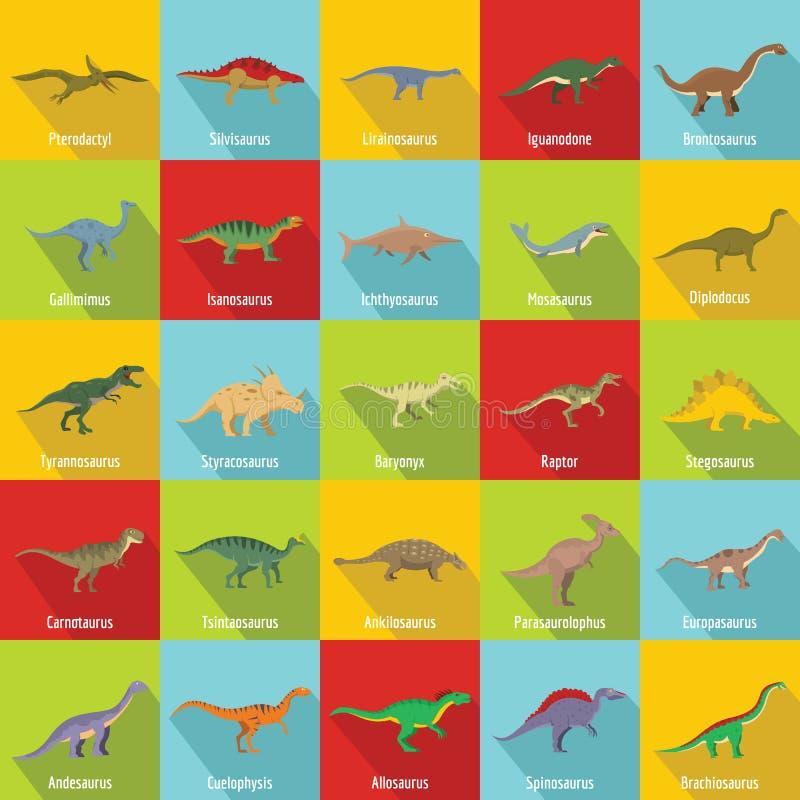 Dinosaur types signed name icons set, flat style royalty free illustration