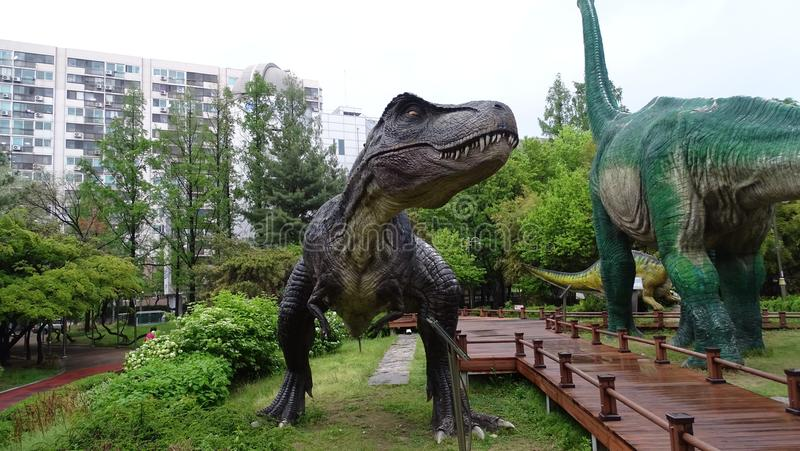 Dinosaur, Tyrannosaurus, Velociraptor, drzewo zdjęcie stock