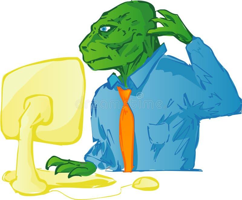 Dinosaur utilisant l'ordinateur illustration libre de droits