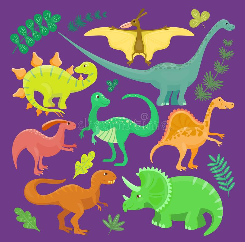 Dinosaur vector kid hand drawn cartoon style collection set illustration. Dino reptile cute monster funny animal and stock illustration