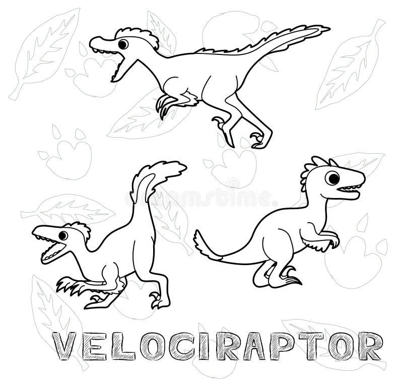 Dinosaur Velociraptor Cartoon Vector Illustration Monochrome. Dinosaur Cartoon Children Coloring Set EPS10 File Format stock illustration