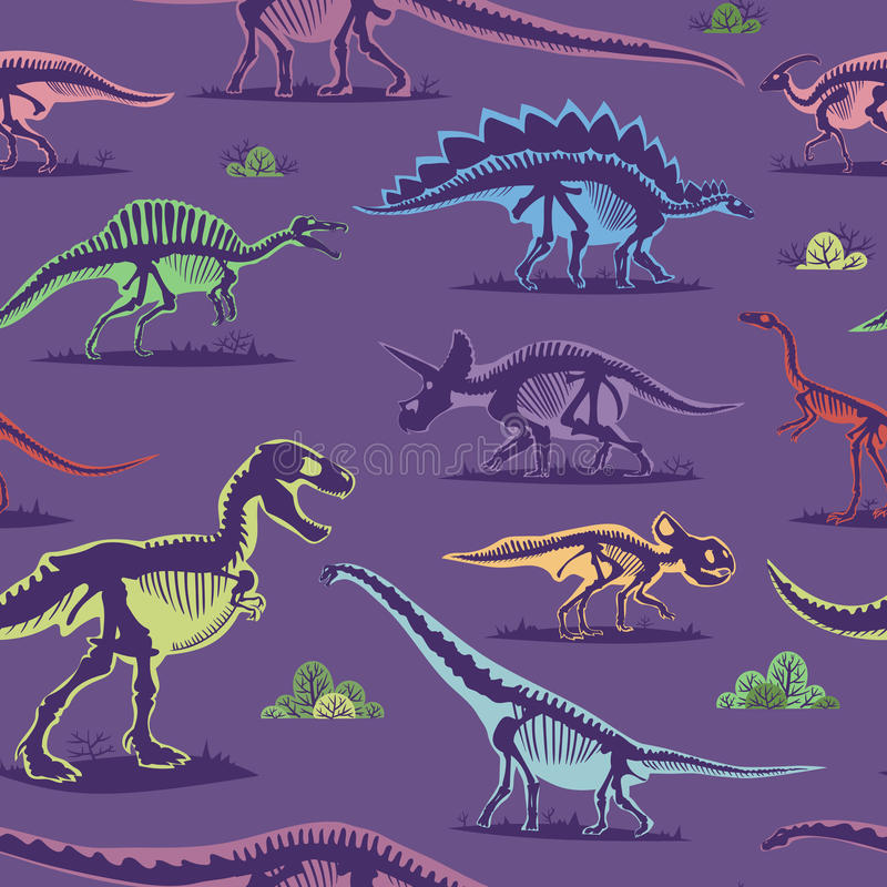 Dinosaur vintage color seamless pattern vector background. Dinosaur vintage color seamless pattern. Vector monster stegosaurus drawing textile repeat style vector illustration