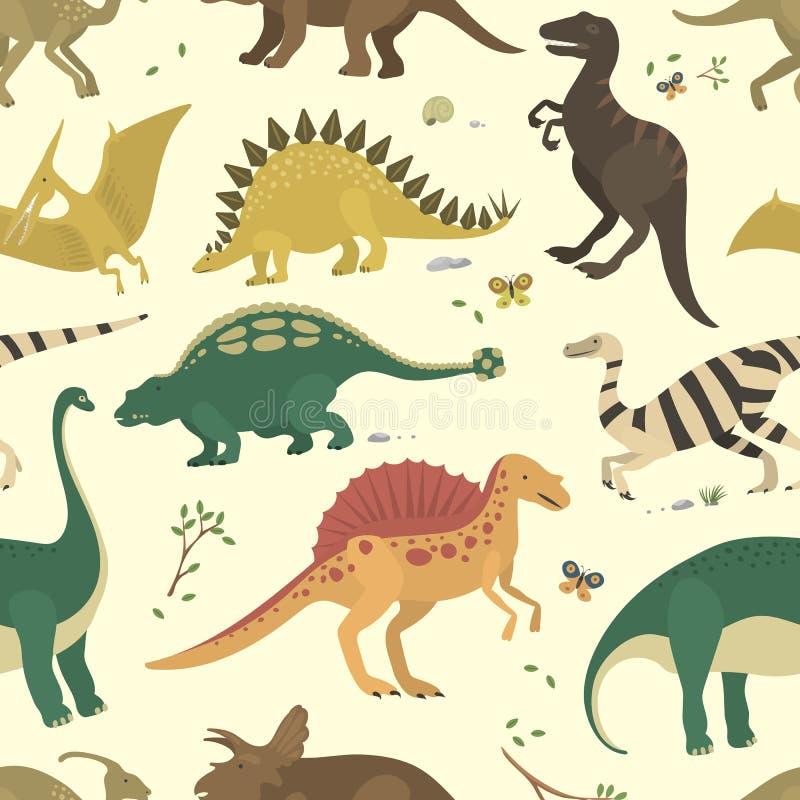Dinosaur vintage color seamless pattern vector. Dinosaur vintage color seamless pattern. Vector monster stegosaurus drawing textile repeat style. Sweet vector illustration