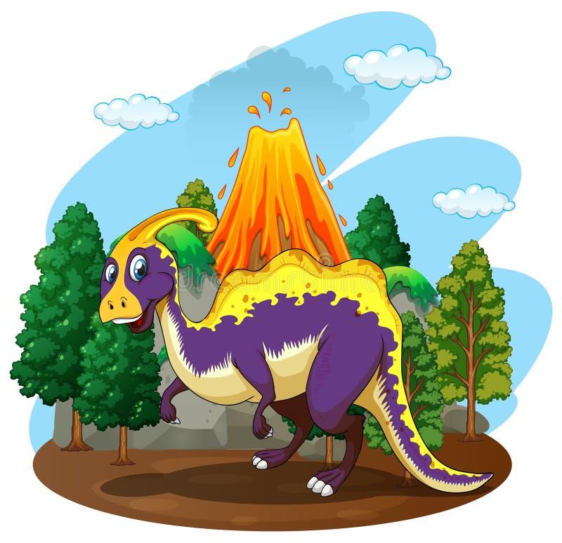 Dinosaur and volcano eruption vector illustration