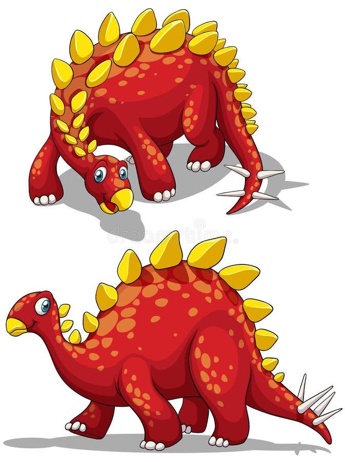 Dinosaur w czerwonym kolorze ilustracja wektor