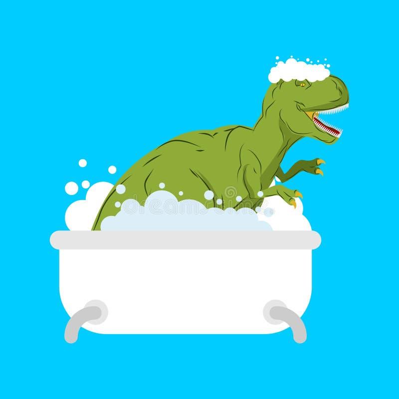 Dinosaur w skąpaniu Tyrannosaurus myją w łazience ilustracji