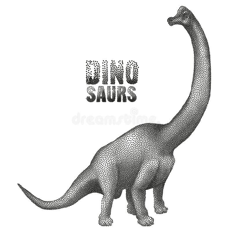 Dinosaur w stippling technikę ilustracja wektor