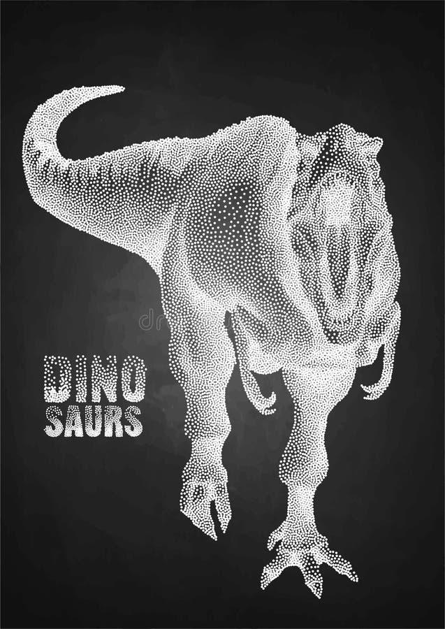 Dinosaur w stippling technikę royalty ilustracja