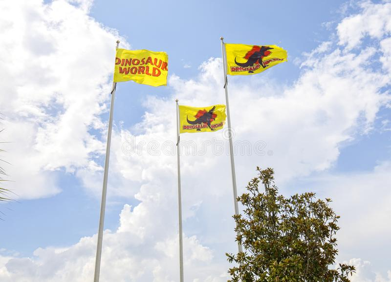 Dinosaur World Flags. At the park in Plant City, Florida stock photo