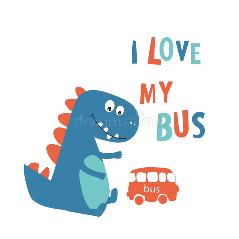 Dinosaura śliczny ono uśmiecha się Komiksu styl, kreskówka z słowami i zwroty, Drukujący odziewa, tkaniny, pocztówki również zwró royalty ilustracja