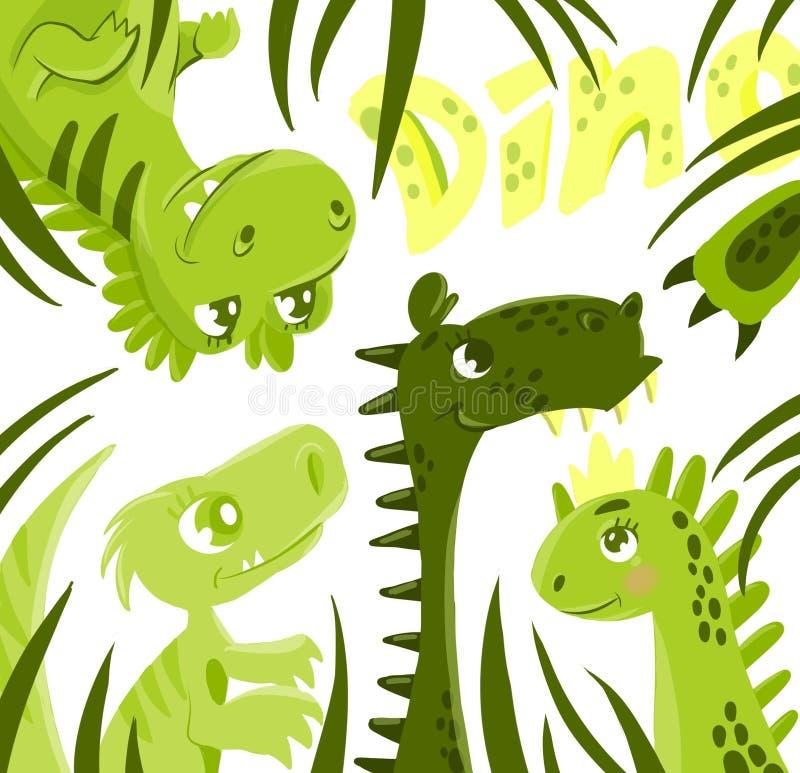 Dinosaura śliczny set ilustracja wektor