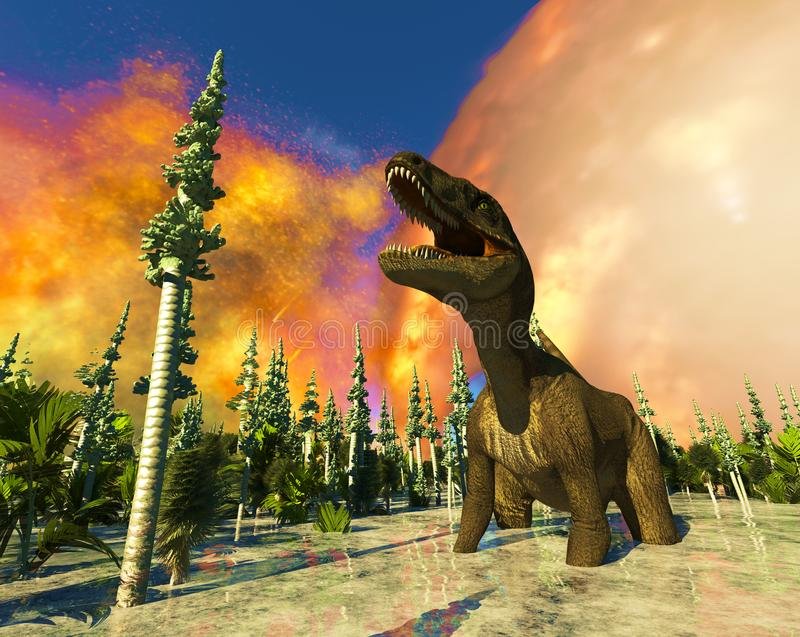 Dinosaura dnia zagłady 3d rendering ilustracji