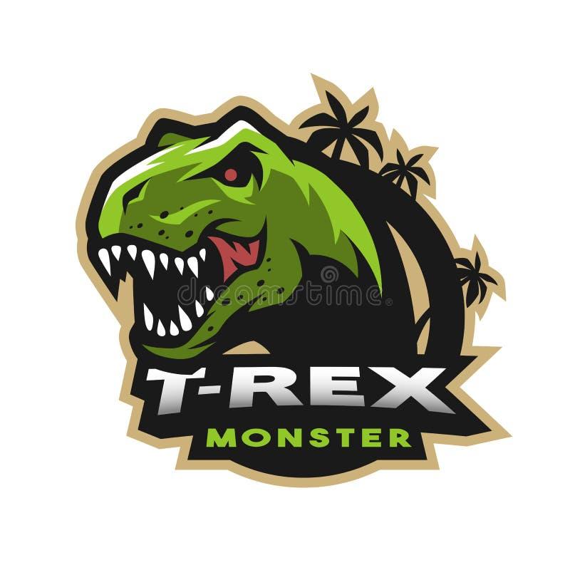 Dinosaura kierowniczy logo, emblemat T-rex potwór ilustracja wektor