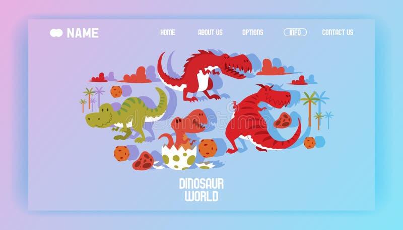 Dinosaura lądowania światowej plakatowej strony kreskówki dinosaurów wektorowy ilustracyjny t-rex, tyrannosaurus prehistoryczny g ilustracji