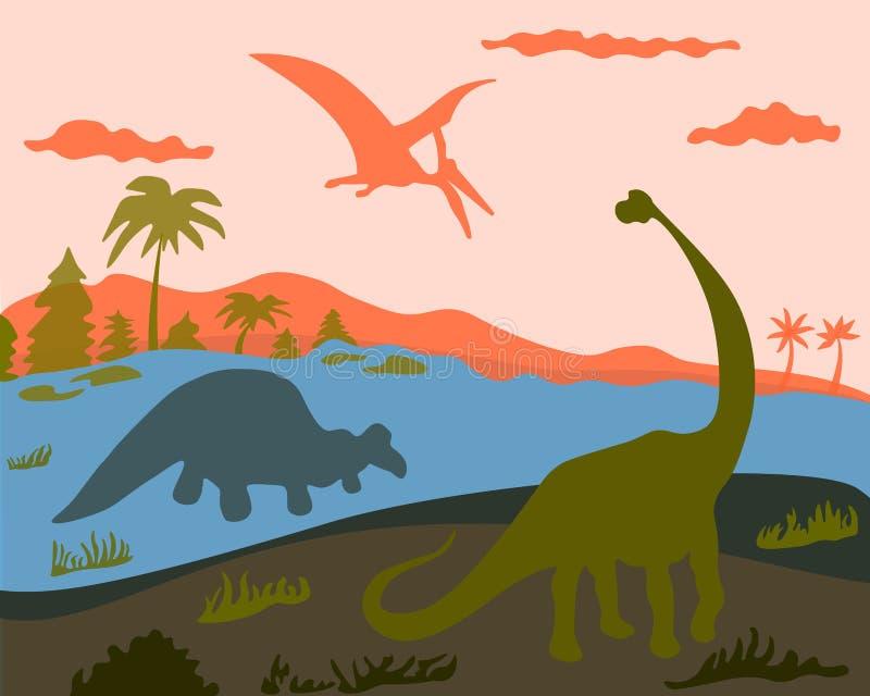 3 dinosaura na ziemi, wodzie i ziemi, ilustracji
