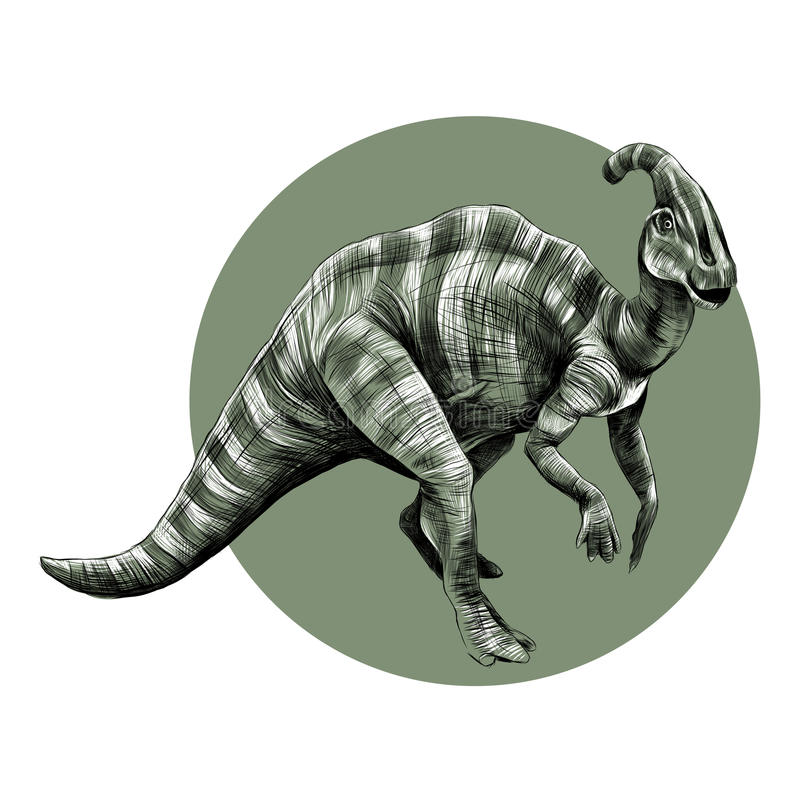 Dinosaura nakreślenia wektor w okręgu ilustracja wektor